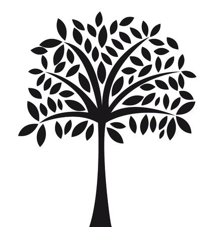 cultivating: �rbol negro abstracto sobre la ilustraci�n vectorial de fondo blanco
