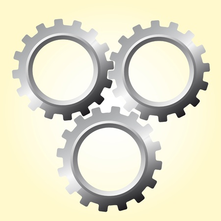 three silver gears over beige vector illustration Vector