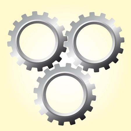 cogs: tre marce argento oltre illustrazione vettoriale beige Vettoriali