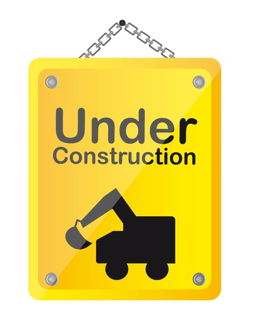 vector sign under construction: under construction with truck vector illustration. yellow sign