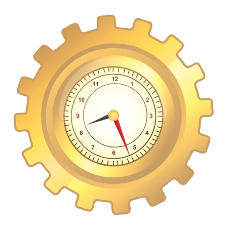 gold gear clock over white background. vector illustration