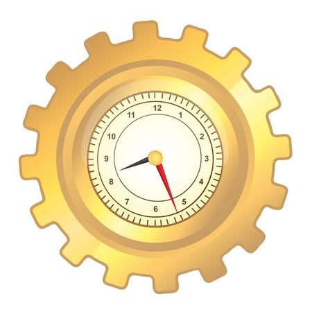 gear  speed: ingranaggi orologio d'oro su sfondo bianco. illustrazione vettoriale