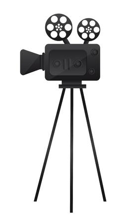 кинематография: черная пленка кино камерой на белом фоне. вектор Иллюстрация