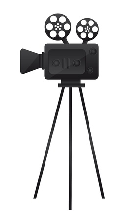 video shooting: black film cinema camera over white background. vector