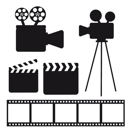 film set: black silhouette cinema elements over white background. vector