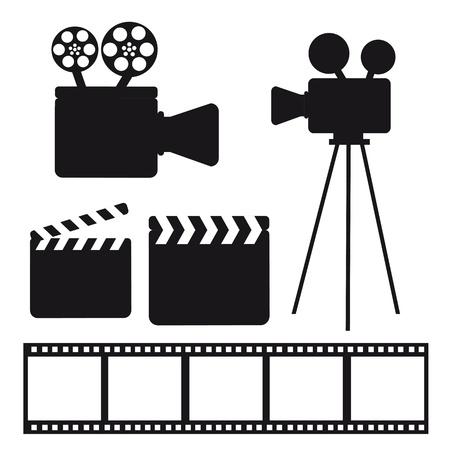 schwarze Silhouette Kino Elemente auf weißem Hintergrund. Vektor Vektorgrafik