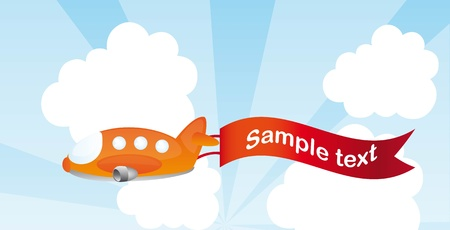 orange plane cartoon with advertising vector illustration Vector