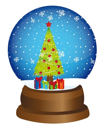 snow globe with tree and gifts over white background. vector Stock Vector - 11549372