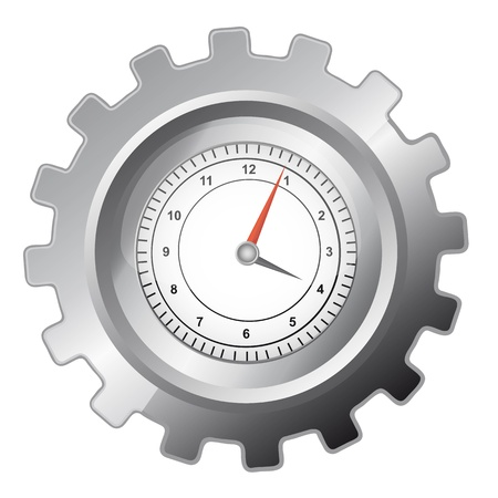silver gear with clock over whtite background. vector illustration
