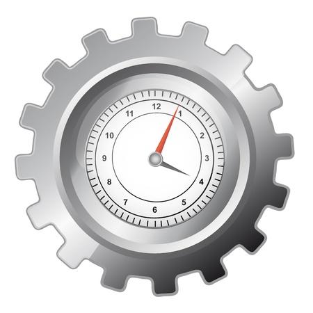 zilver versnelling met klok over whtite achtergrond. vectorillustratie Vector Illustratie