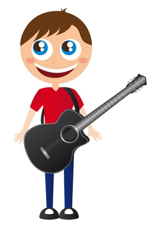 boy playing guitar: boy with black guitar over white background. vector