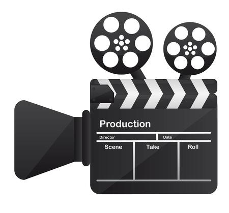 board of director: cinema fotocamera concettuale su sfondo bianco. vettore