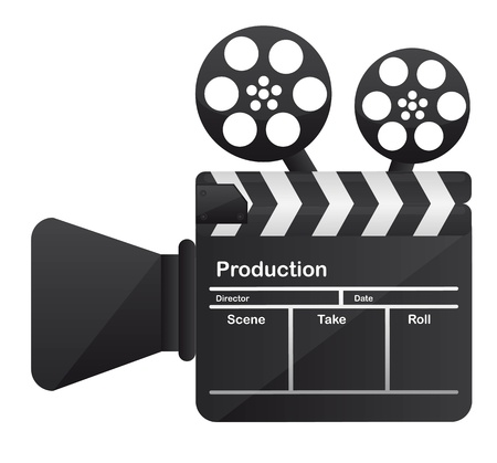film editing: film cinema camera conceptual over white background. vector