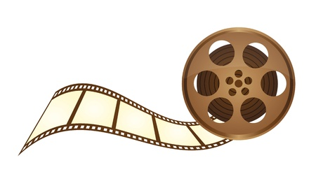 clapper: old film tape with film stripe over white background. vector Illustration