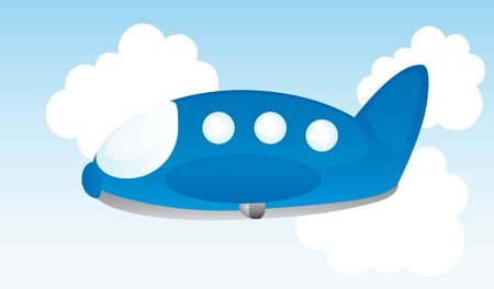 takeoff: blue plane cartoon over sky background. vector illustration Illustration