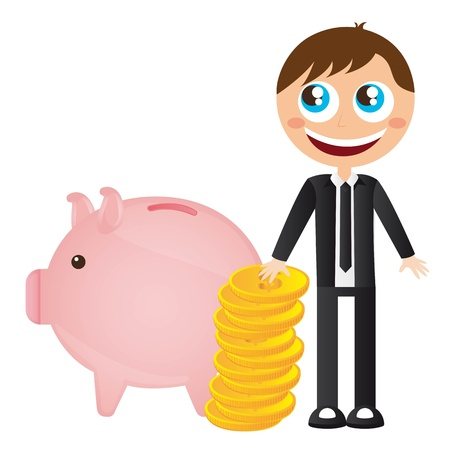 businessman with piggy and gold coins vector illustration