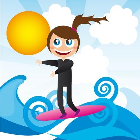 chica surf: linda chica en tabla de surf y el mar ilustraci�n vectorial Vectores
