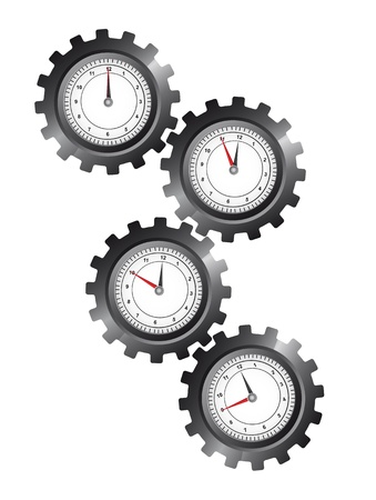 industrial machine: black gears with clock over white background. vector illustration