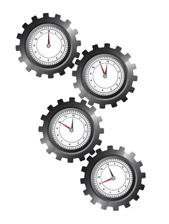 zwart versnellingen met een klok op een witte achtergrond. vectorillustratie