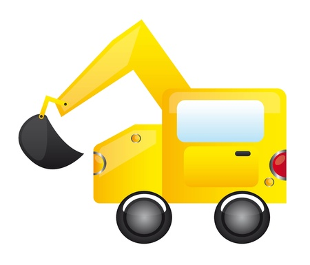 yellow construction truck over white background. vector Vector