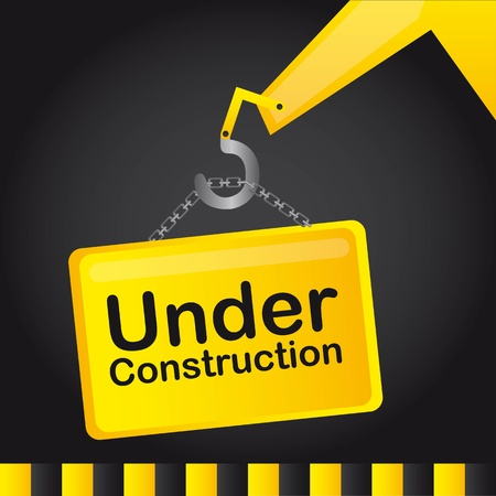 vector sign under construction: under construction yellow sign over black background. vector Illustration