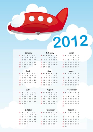 calendar 2012 with air plane cartoon vector illustration Vector