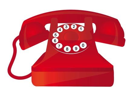 cable telefono: tel�fono rojo de edad con los n�meros sobre fondo blanco. vector