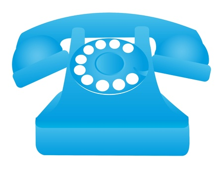 blue old telephone isolated over white background. vector illustration Stock Vector - 11549290
