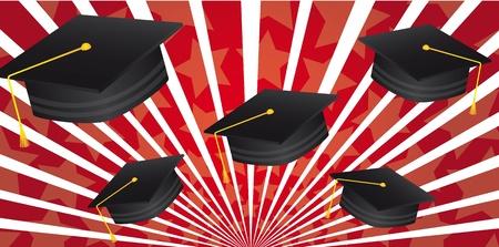 gorros de graduacion: sombrero de postgrado sobre ilustraci�n vectorial rojo de fondo