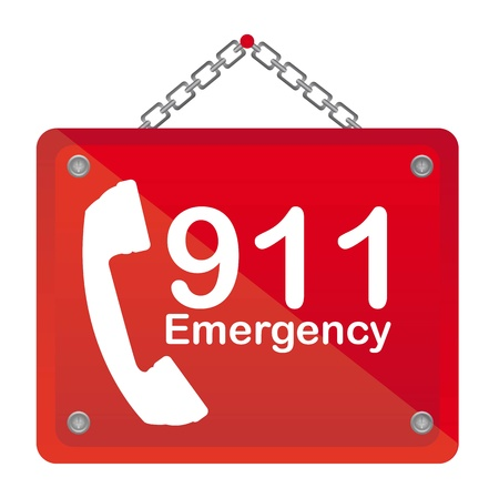 bad service: 911 emergency red board isolated vector illustration