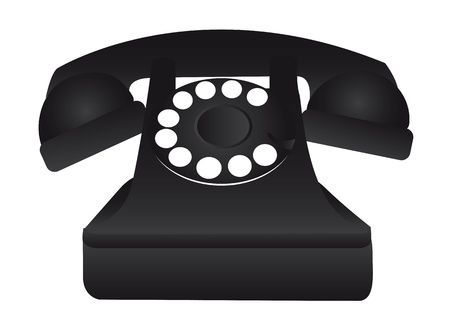 rotary dial telephone: black old telephone isolated over white background vector illustration
