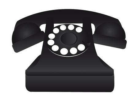 cable telefono: viejo teléfono negro aislado sobre fondo blanco ilustración vectorial Vectores