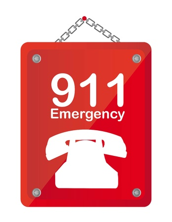 emergency call: red emergency board isolated over white background vector Illustration