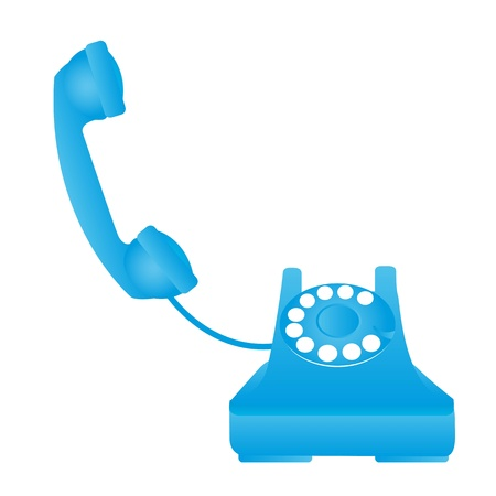 rotary dial telephone: blue old telephone isolated over white background. vector