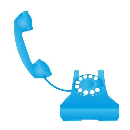cable telefono: teléfono antiguo aislado azul sobre fondo blanco. vector Vectores