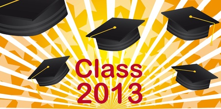 graduate hat class 2013 over orange background. vector Vector