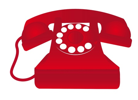ancient telephone: red old telephone isolated over white background. vector illustration Illustration