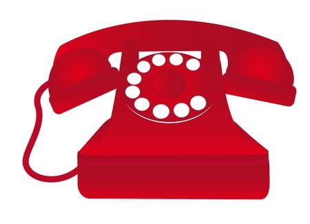 cable telefono: viejo tel�fono rojo aislado sobre fondo blanco. ilustraci�n vectorial