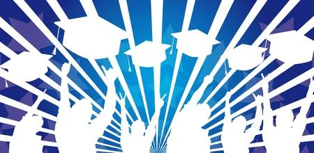 diplom studen: Silhouette M�nner absolvieren Hut auf blauem Hintergrund. Vektor Illustration