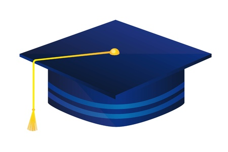 blue graduate hat isolated over white background. vector illustration