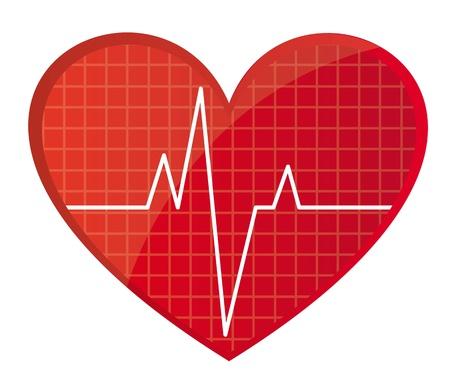oscilloscope: frequenza cardiaca rosso isolato su sfondo bianco. illustrazione vettoriale Vettoriali