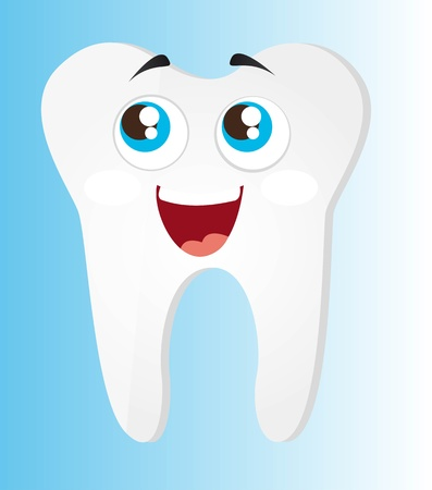 tooth cartoon: tooth cartoon with eyes and mouth vector illustration