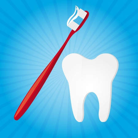 toothbrush and tooth over blue background vector illustration