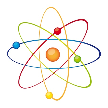 orbiting: colorful atom isolated over white background. vector Illustration
