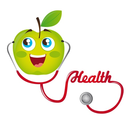 gree apple and red  stethoscope vector illustration. cartoon Vector