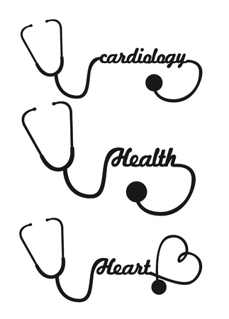 listening to heartbeat: black silhouette stethoscope isolated vector illustration