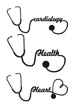 estetoscopio corazon: negro silueta ilustraci�n vectorial aislado estetoscopio