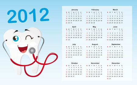 2012 calendar with tooth background. vector illustration Vector