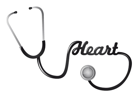 stethascope: black stethoscope with heart text vector illustration