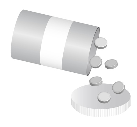 silver bottle pills isolated over white background. vector Vector